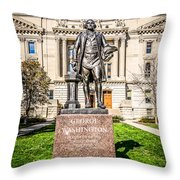 George Washington Statue Indianapolis Indiana Statehouse Throw Pillow by Paul Velgos