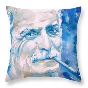 Georges Brassens - Watercolor Portrait Throw Pillow