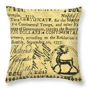 Georgia Banknote, 1777 Throw Pillow