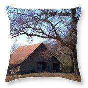 Georgia Barn In Winter Throw Pillow