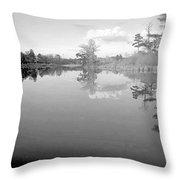Georgia Lake In Black And White Throw Pillow