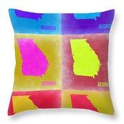 Georgia Pop Art Map 2 Throw Pillow