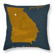 Georgia Tech University Yellow Jackets Atlanta College Town State Map Poster Series No 043 Throw Pillow