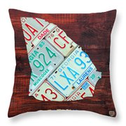 Georgia The Peach State License Plate Map On Fruitwood Throw Pillow