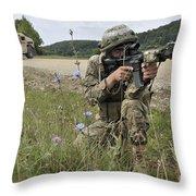 Georgian Army Sergeant Aims An M4 Throw Pillow
