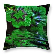 Geranium Leaves - Reflections On Pond Throw Pillow