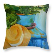Geraniums And A Hat Throw Pillow