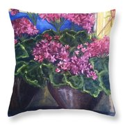 Geraniums Blooming Throw Pillow by Sherry Harradence
