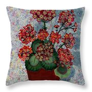 Geraniums In A Copper Pot Throw Pillow