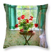 Geraniums In The Bedroom Throw Pillow