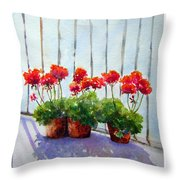 Geraniums On My Balcony Throw Pillow