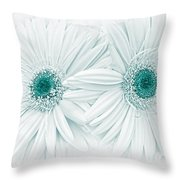 Gerber Daisy Flowers In Teal Throw Pillow
