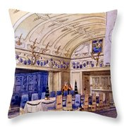 German Dining Hall, Early 20th Century Throw Pillow