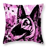 German Shepard In Purples Throw Pillow