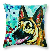 German Shepard Watercolor Throw Pillow
