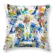 German Shepherd - Watercolor Portrait Throw Pillow