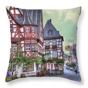German Village Along Rhine River Throw Pillow