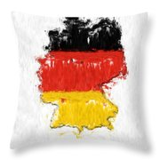 Germany Painted Flag Map Throw Pillow
