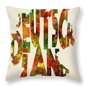 Germany Typographic Watercolor Map Throw Pillow