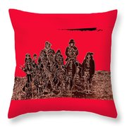 Geronimo And Family Surrendering Collage Number 1 C.s. Fly 1887-2012 Throw Pillow