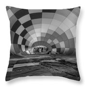 Getting Inflated-bw Throw Pillow