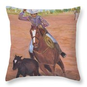 Getting Ready For Rodeo Throw Pillow