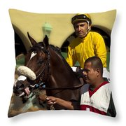 Getting Ready - Jockey And Horse For The Race Throw Pillow