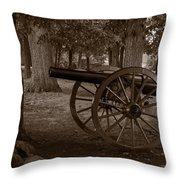 Gettysburg Cannon B W Throw Pillow