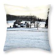 Gettysburg Farm In The Snow Throw Pillow