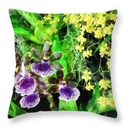Geyser Jaimie And Golden Fantasy Orchids Throw Pillow