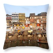 Ghats In The River Ganges At Varanasi In India Throw Pillow