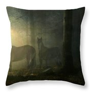 Ghost Horses Throw Pillow