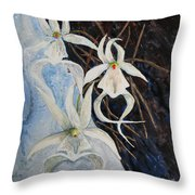 Ghost Orchid Blooming Throw Pillow