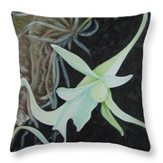 Ghost Orchid On A Palm Tree Throw Pillow