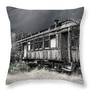 Ghost Passenger Train Coach Throw Pillow