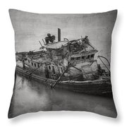 Ghost Steamer In Bw Throw Pillow