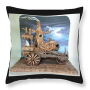 Ghost Tractor Throw Pillow