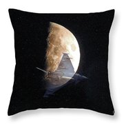 Ghostly Eurofighter Against A Full Moon Throw Pillow by Peter McHallam