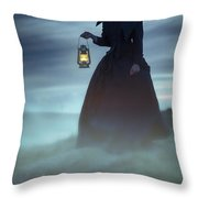 Ghostly Victorian Woman With A Lamp In Fog At Night Throw Pillow