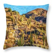 Giant Cordon Cactus Throw Pillow