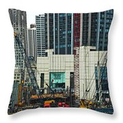Downtown Chicago High Rise Construction Site Throw Pillow