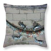 Giant Lizard On A Wall Throw Pillow