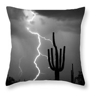 Giant Saguaro Cactus Lightning Strike Bw Throw Pillow by James BO  Insogna