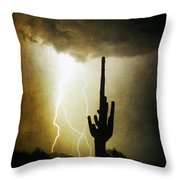 Giant Saguaro Lightning Spiral Fine Art Photography Print Throw Pillow