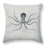 Giant Squid - Nautical Design Throw Pillow by World Art Prints And Designs
