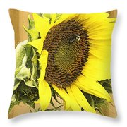 Giant Sunflower With Buds Throw Pillow