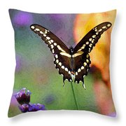 Giant Swallowtail Butterfly Photo-painting Throw Pillow