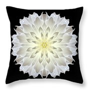 Giant White Dahlia Flower Mandala Throw Pillow by David J Bookbinder