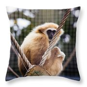 Gibbon On A Swing Throw Pillow