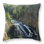 Gibbon River And Falls Throw Pillow